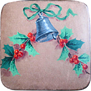 Vintage Huyler's Christmas Candy Box, Hand Painted with Holly and Bell