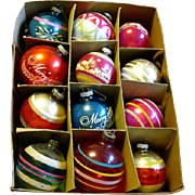 WW II Box of Jumbo Size Shiny Brite Glass Christmas Ornaments