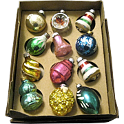 Twelve Older Shiny Brite Mercury Glass Ornaments, Boxed