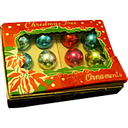 1950's Boxed Miniature Glass christmas Tree Ornaments