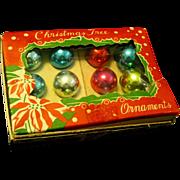 1950's Boxed Miniature Glass christmas Tree Ornaments