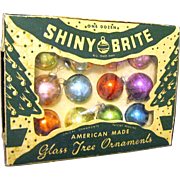 Miniature Glass 1950's christmas Ornaments in Shiny Brite Box