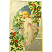 1907 Christmas Postcard, Angel Holds Feather Tree
