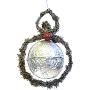 Tinsel Trimmed Silver Foil Hanging Candy Container/Christmas Ornament