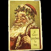J. Bien Christmas Postcard, Santa Smokes a Pipe, 1908
