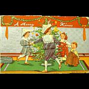 Children Dance Around Tree on 1908 Christmas Postcard