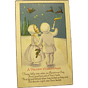 "Snow Children Watch Santa ""Fly out of Sight"" on Vintage Postcard"