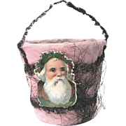 Edwardian Tinsel, Cotton Batting Sand Pail Candy Container