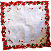 40 Poinsettias on Vintage Christmas Hanky