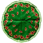 Lacy Candy Canes in the Round, 1950's Christmas Hanky