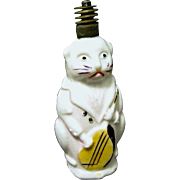 1930's Cat with Mandolin Figural Milk Glass Christmas Lamp