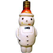 Early Milk Glass Snowman C-6 Christmas Lamp Carries Sack on Back