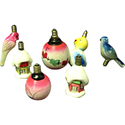 Seven C-6 Figural MIlk Glass Christmas Light Bulbs from the 1930s