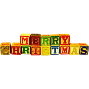 "Mid-century ABC Blocks Spell ""Merry Christmas"""
