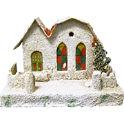 1930's Christmas Putz House/Church, Tree with Red Bird