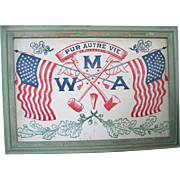 Large Framed Modern American Woodmen Patriotic Banner/Flag