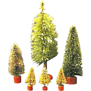 Six Assorted Vintage Bottle Brush Trees