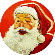 Mrs. Stevens Santa Claus Head Candy Tin, 1950