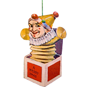 American Made, Two-sided, Die-cut, Lithographed Paper Jack-in-the-Box Christmas Ornament, 1915