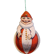 American Made, Double-sided, Die-cut, Lithographed Paper Christmas Clown Ornament, 1915
