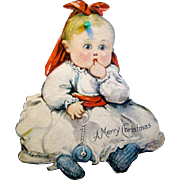 American Made, Two-Sided, Die-cut, Lithographed Paper Baby Sucking Thumb Christmas Ornament, 1915