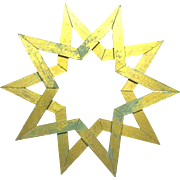 Large Vintage Architectural Double Wooden Star, Gilded Shabby Chic