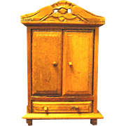 Vintage Handmade Miniature Wardrobe for Dollhouse