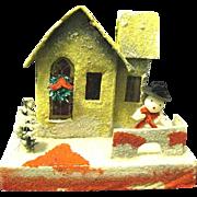 1930's Christmas Putz House with Snowman, Japan