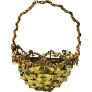 Miniature Vintage Woven Brass Christmas Basket
