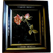 Large Victorian Walnut Shadow Box Frame with Embroidered Tea Roses under Original Glass