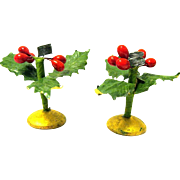 Pair of Vintage Miniature Candle Holders, Holly, Berries, Round Wood Bases