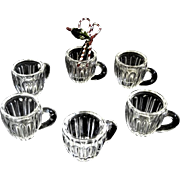 Six Miniature Victorian Pattern Glass Punch Cups for Dolly's Birthday Party