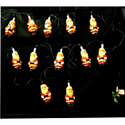 String of Santa Claus Christmas Tree Lights from the 1960s