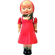 Darling Five Inch Tall Celluloid Doll Christmas Ornament, Strung Arms