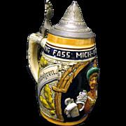 "Vintage Ceramic Lidded Beer Stein, ""Lustig Fass' Mich, Lustig Lass' Mich """