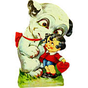 Large Puppy with Celluloid Eyes Licks Little Boy's Face on Vintage Mechanical Valentine