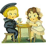 1929 Mechanical Valentine, Sailor Boy and Girl Play Cards