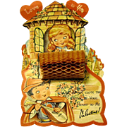 Romeo Serenades Juliet on Large 1940's Honeycomb Valentine
