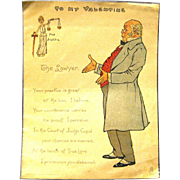 "1902 Tuck & Sons Vinegar Valentine, ""The Lawyer"""