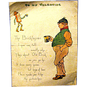 "Tuck & Sons 1902  Penny Dreadul Valentine, ""The Bricklayer"""