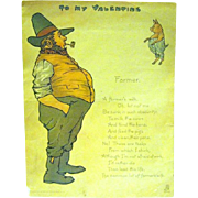 "Edwardian Comic Vinegar Valentine, Raphael Tuck & Sons, ""The Farmer"""