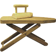 Doll Size Wooden Ironing Board and Iron