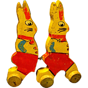 Vintage Wooden Easter Bunnies on Wheels