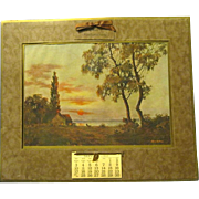Large 1937 Scenic Picture Calendar with Small January-December Calendar Pad
