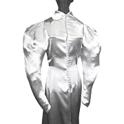 1930's White Satin Bias Cut Wedding Gown with Train