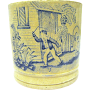 "Mid 19th Century English Glazed Earthenware Child's Mug, ""Playing Whip-Top"""