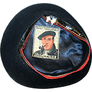 1940's Black French Brumaire Beret, with Man Smoking Pipe Label