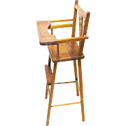 Mid-Century Doll's Wooden High Chair with Food Tray and Foot Rest