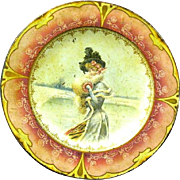 "Pretty Victorian Girl on 10"" Enamelled Metal Plate, Circa 1900"