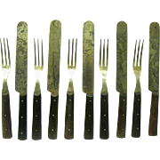 Ten pieces of Civil War Knives and Three-tined Forks